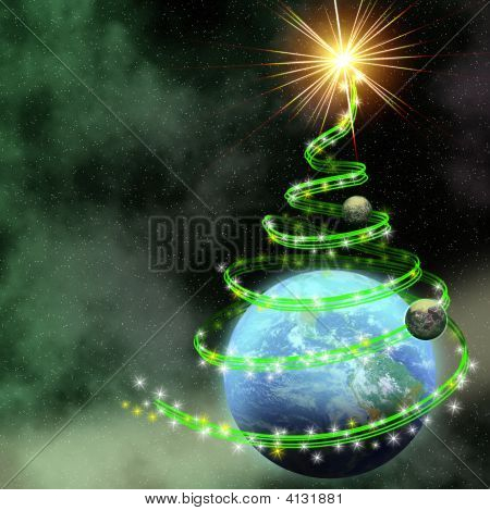 Earth With Abstract Christmas Tree Spiral