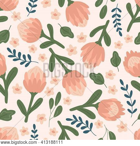 Vector Seamless Pattern With Pink Protea Flowers, Leaves And Abstract Plants. Hand Drawn Doodle Gard