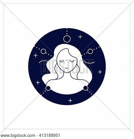 Virgo Flat Icon. Sixth Fire Sign In Zodiac. Female Woman Birth Symbol. Mystic Horoscope Sign. Astrol