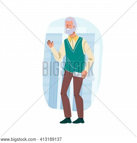 Cartoon Flat Woman Character Stands On City Building Background.elderly Stylish Grandpa Standing, Po