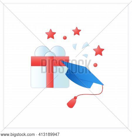 Graduation Gift Flat Icon.gift On Graduation Occasion. Pleasant Presents. Special Surprise. Graduate
