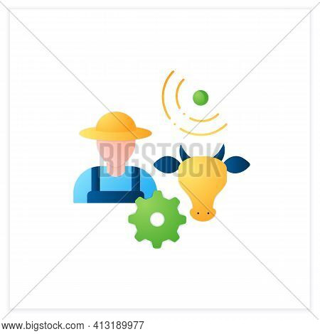 Animal Breeder Flat Icon. Responsible For Producing Animals For Business. May Assist With Breeding O