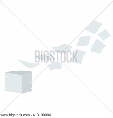 Paper Files Fall Down. Blank Sheet. White Trash. Cartoon Flat Illustration. Stack And Pile Of Docume