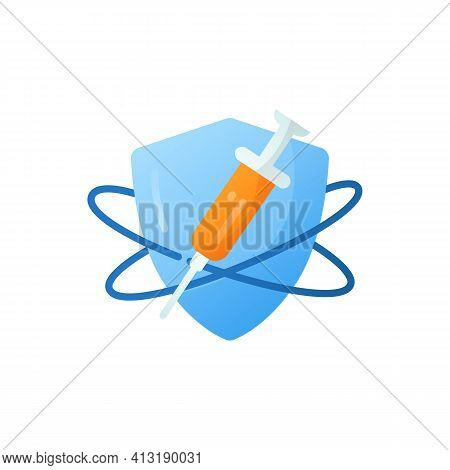 Immunization Flat Icon. Vaccination. Immune System Concept. Immunology. Body Defence System. Health,