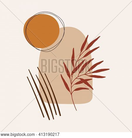 Modern Abstract Minimalist Poster In Boho Style With Natural Organic Shapes: Sun, Window, Branch. Ae