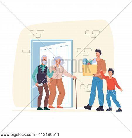 Cartoon Flat Happy Family Characters Meeting With Grandparents.dad And Kid Boy Visiting Grandpa Gran