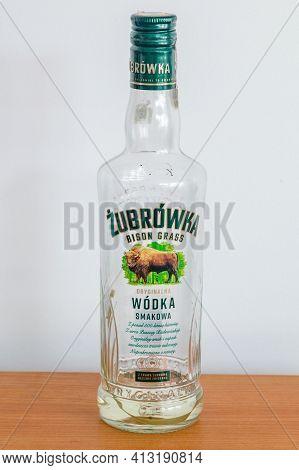 Pruszcz Gdanski, Poland - March 18, 2021: Almost Empty Bottle Of Zubrowka Vodka, Original Flavoured
