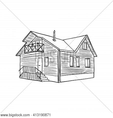 Hand Drawn Village Cottage Line Sketch. Simple Rustic Suburb Houses Isolated On White Background