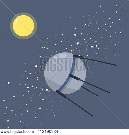 Satellite In Space Orbiting The Earth. Soviet Sputnik. Moon And Milky Way. Exploration Of Universe A