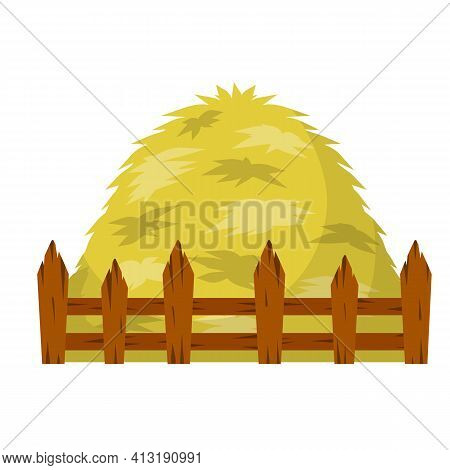Haystack. Large Sheaf Of Dry Wheat And Straw. Rustic Wooden Fence, Countryside. Rural Harvest. Carto