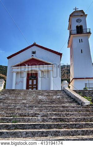 Stone Stairs And Orthodox Church On The Island Of Kefalonia In Greece