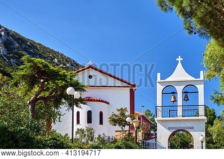 Orthodox Church With A Belfry On The Island Of Kefalonia In Greece
