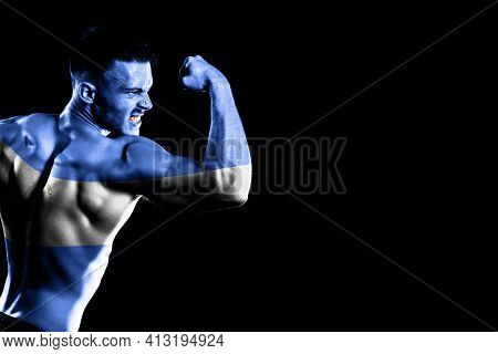 Nicaragua Flag On Handsome Young Muscular Man Black Background