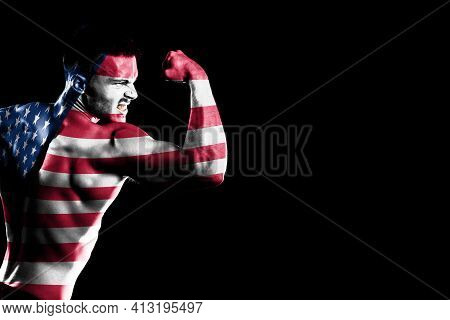 United States Flag On Handsome Young Muscular Man Black Background