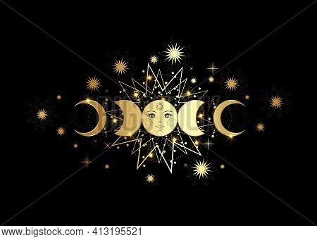 Triple Moon, Gold Pagan Wiccan Goddess Symbol, Sun System, Moon Phases, Orbits Of Planets, Energy Ci