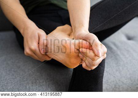 Painful Foot Cramp Or Inflammation. Hurt Leg