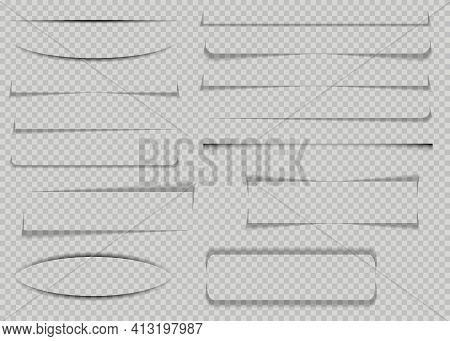 Set Of Realistic Transparent Shadows Or Paper Transparent Shadow Effect Or Shadow Line Page Divider.