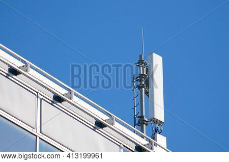Close Up Of A 4g And 5g Telecommunication Tower Antenna And Mobile Communication System Located On A