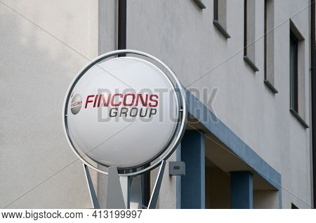 Lugano, Ticino, Switzerland - 9th March 2021 : Fincons Group Company Sign Located In Front Of The He