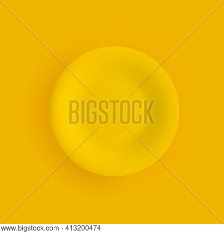 Flat Matte Yellow Dinner Plate Closeup On A Yellow Background. Isolated Object With Shadow. Top View
