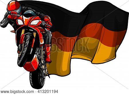 Cornering Motorbike Racer With German Flag Vector
