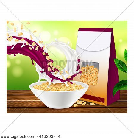 Oatmeal With Blueberry Promotional Banner Vector Illustration