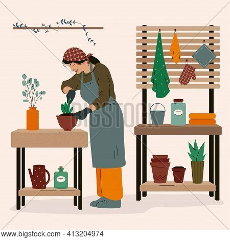 Woman Wearing Working Robe, Caring Flowers In Pots, Planting Garden Flowers, Agriculture At Home Con