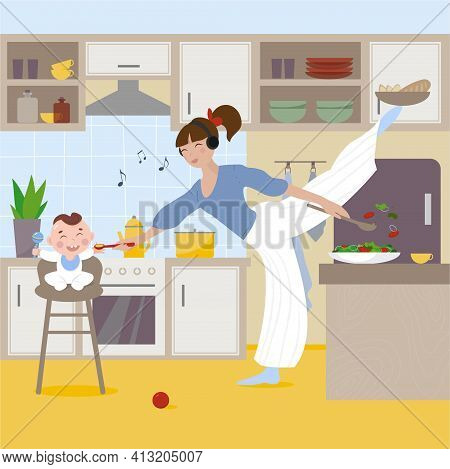 Busy Mom Enjoys Music While Feeding Her Baby And Cooking At The Same Time. Super Mom, Maternity Conc