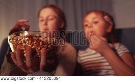 Stay Home. Family - Children Eat Popcorn Watching Tv. Kid Dream Together Coronavirus Concept. Popcor