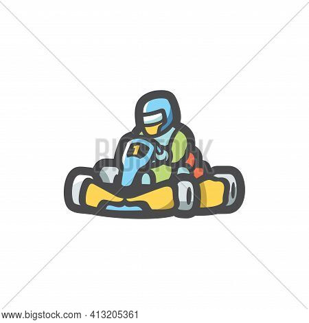 Karting Kart Racer Vector Icon Cartoon Illustration