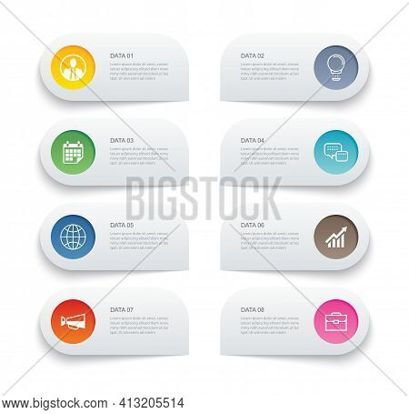 8 Data Infographics Tab Paper Thin Line Index Template. Vector Illustration Abstract Background. Can