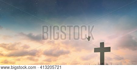 Jesus Cross Crucifixion On Calvary Hill In Sunrise Good Friday Risen In Easter Day Morning Sunday Co