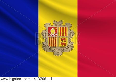 Flag Of Andorra. Fabric Texture Of The Flag Of Andorra.