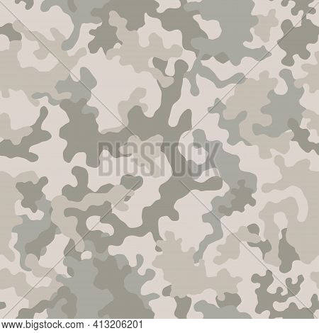 Seamless Camouflage Pattern. Military Camouflage Texture. Light Brown Soldier Desert Camo. Vector Fa