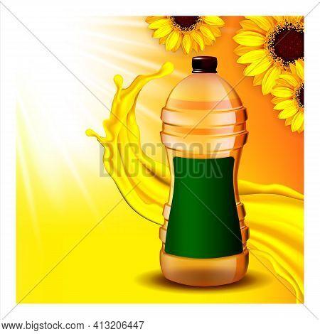 Sunflower Refined Oil Promotional Banner Vector Illustration