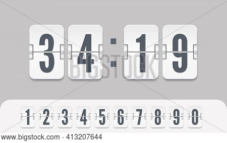 White Scoreboard Number Font. Vector Modern Ui Design Of Retro Time Meter With Numbers. Old Score Bo