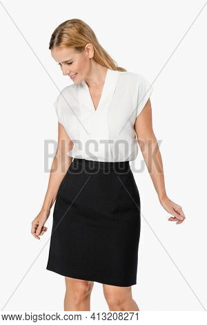 Businesswoman wearing a formal work outfit