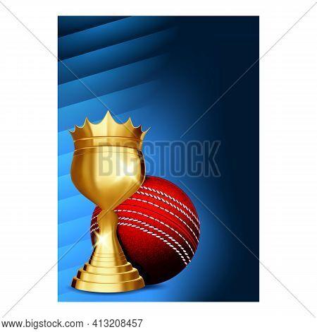 Cricket Championship Cup Brochure Banner Vector Illustration