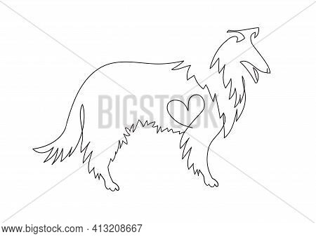 Collie Icon. A Collie Dog With A Heart. Collie Silhouette, One Line For Tattoo. Hand Drawn Illustrat