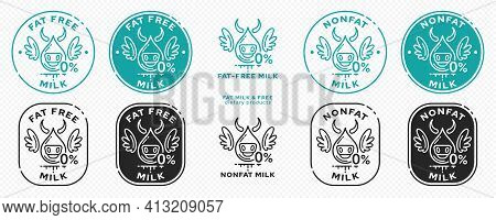 Concept For Product Packaging. Labeling - Nonfat Milk. Dairy Cow-drop With Zero And Wings - A Symbol