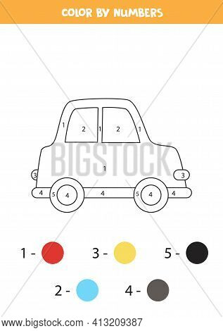 Color Cartoon Car By Numbers. Worksheet For Kids.
