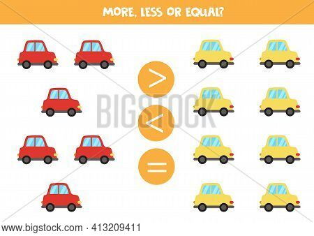 More, Less, Equal With Colorful Cartoon Cars.