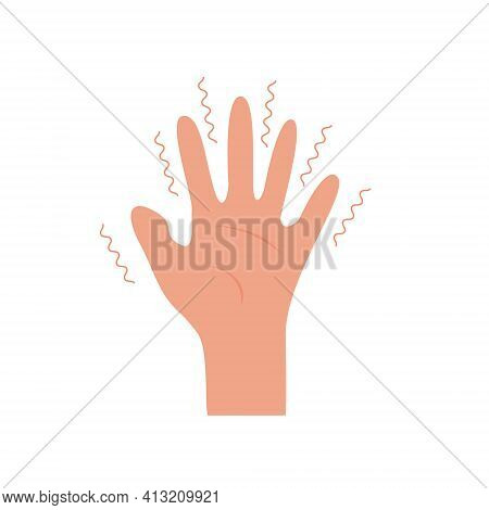 Hand With Tremor Symptom. Parkinson Disease. Trembling Or Shivering Arms. Physiological Stress Sympt