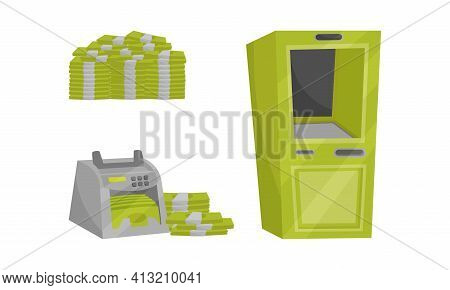Banknote Counting Machine, Pile Of Cash And Cashpoint Machine Vector Set