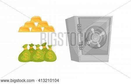 Bar Of Gold, Sacks With Money Cash And Metal Safe Deposit For Money Storage Vector Set