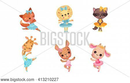 Cute Mammals With Sheep And Lion In Ballerina Dress And Bow On Head Dancing Vector Set