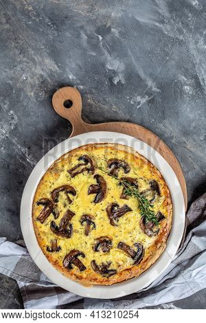 Savory Tart Pie With Mushrooms. Traditional French Pie Quiche Lorraine Mushrooms Champignons And Che
