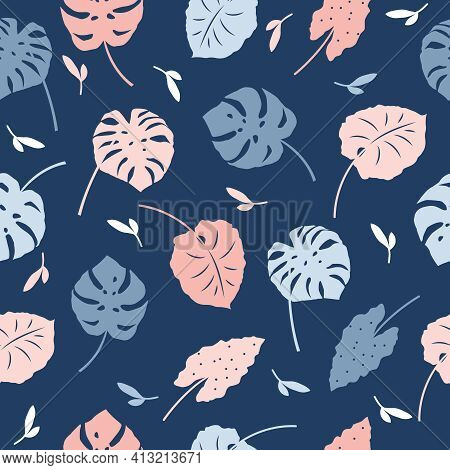 Vector Seamless Patterns Of Tropical Leaves, Plants, Flowers On Blue And Pink. Beautiful Print With