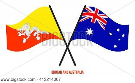 Bhutan And Australia Flags Crossed And Waving Flat Style. Official Proportion. Correct Colors.