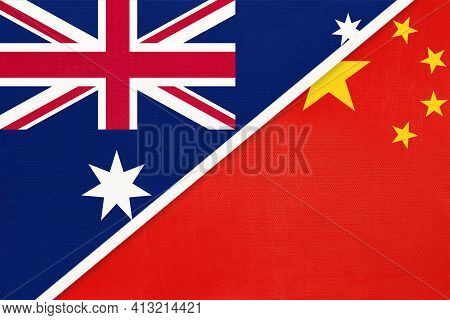 Australia And China Or Prc, National Flags From Textile. Relationship, Partnership And Match Between